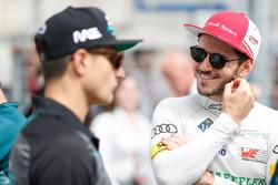 Daniel Abt, Audi Sport ABT Schaeffler, talks to Mitch Evans, Jaguar Racing