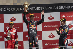 Podium: Race winner Mark Webber, Red Bull Racing, second place Fernando Alsono, Ferrari, third place Sebastian Vettel, Red Bull Racing
