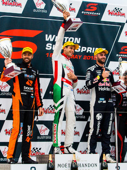 Podium: race winner Rick Kelly, Nissan Motorsport, second place Scott Pye, Walkinshaw Andretti United Holden, third place Shane van Gisbergen, Triple Eight Race Engineering Holden