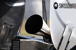 De nieuwe megafoonuitlaat op de Mercedes GP-bolide