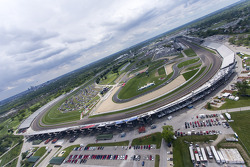 The view of Indianapolis Motor Speedway from Kurt Busch's helicopter