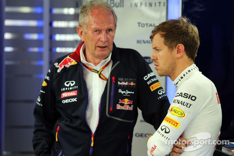 (L to R): Dr Helmut Marko, Red Bull Motorsport Consultant with Sebastian Vettel, Red Bull Racing