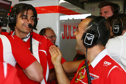 Francesco Nenci, Marussia F1 Team Race Engineer and the Marussia F1 Team celebrate Jules Bianchi, scoring their first F1 points
