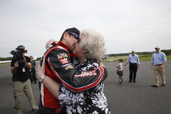 Kurt Busch is greeted by his mother