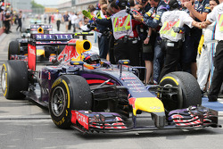 Race winner Daniel Ricciardo, Red Bull Racing RB10 in parc ferme