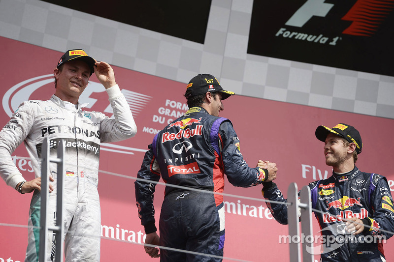 Daniel Ricciardo, Nico Rosberg and Sebastian Vettel celebrate on the podium