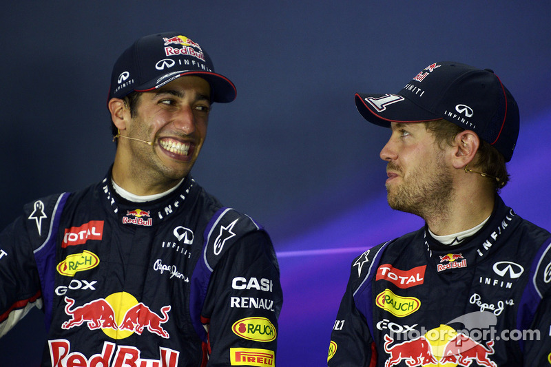 (L to R): Race winner Daniel Ricciardo, Red Bull Racing with team mate Sebastian Vettel, Red Bull Ra