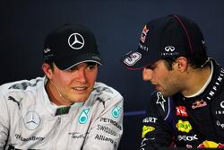 (L to R): Nico Rosberg, Mercedes AMG F1 and race winner Daniel Ricciardo, Red Bull Racing in the FIA
