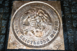 Hand imprint ceremony: the plate for the 2013 24 Hours of Le Mans winners Loic Duval, Tom Kristensen and Allan McNish