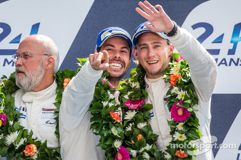 LMGTE Pro podium: third place Frédéric Makowiecki and Marco Holzer