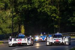 #1 Audi Sport Team Joest Audi R18 E-Tron Quattro: Lucas Di Grassi, Marc Gene, Tom Kristensen; #14 Porsche Team Porsche 919 Hybrid: Romain Dumas, Neel Jani, Marc Lieb