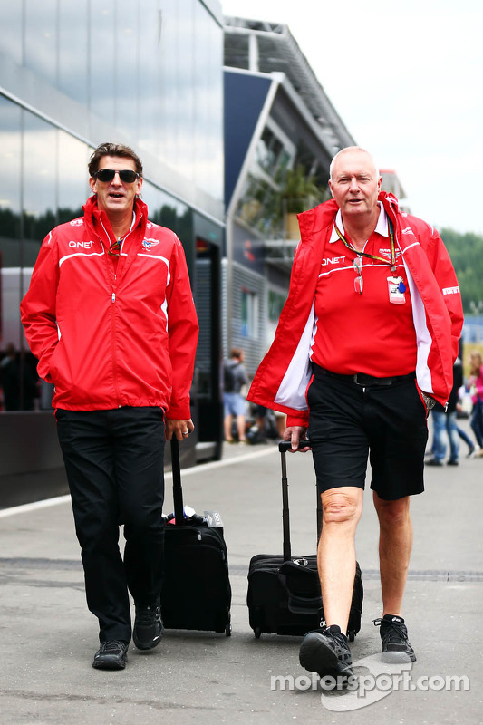 (L to R): Graeme Lowdon, Marussia F1 Team Chief Executive Officer with John Booth, Marussia F1 Team