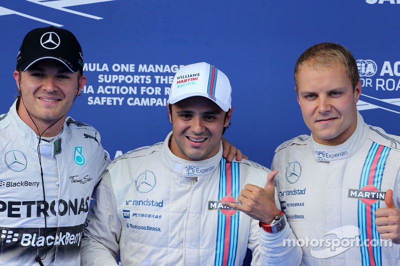 Polesitter Felipe Massa, Williams; 2. Valtteri Bottas, Williams, 3. Nico Rosberg, Mercedes AMG F1