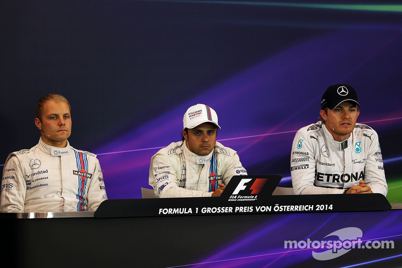 Conferenza stampa FIA post qualifiche, Valtteri Bottas Williams, secondo; Felipe Massa, Williams, pole position; Nico Rosberg, Mercedes AMG F1, terzo 21