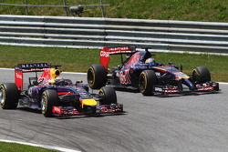 Sebastian Vettel, Red Bull Racing RB10 and Jean-Eric Vergne, Scuderia Toro Rosso STR9