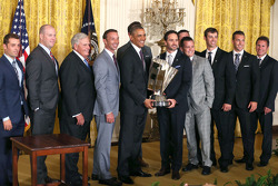 Jimmie Johnson and the Hendrick Motorsports team visit President Barack Obama at the White House
