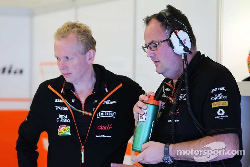 (L to R): Andrew Green, Sahara Force India F1 Team Technical Director with Tom McCullough, Sahara Fo