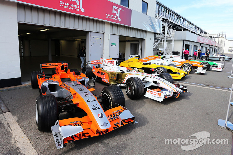 A collection of old Sahara Force India F1 Team and Jordan cars
