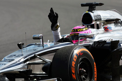 Jenson Button, McLaren MP4-29 celebrates his fourth position at the end of the race