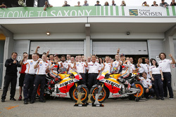 The Repsol Honda team celebrates a 1-2 finish for Marc Marquez and Dani Pedrosa