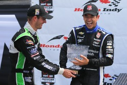 Helio Castroneves, Penske Racing Chevrolet and Sèbastien Bourdais, KVSH Racing Chevrolet celebrate