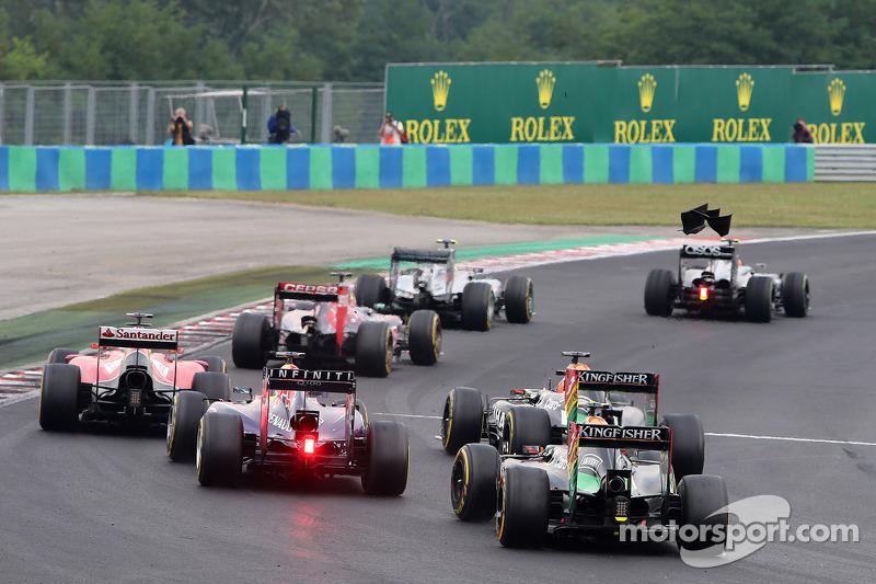 Sergio Perez, Sahara Force India e Sebastian Vettel, Red Bull Racing