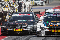 Pascal Wehrlein, HWA DTM Mercedes AMG C-Coupé and Marco Wittmann, BMW Team RMG BMW M4 DTM collide on pitlane