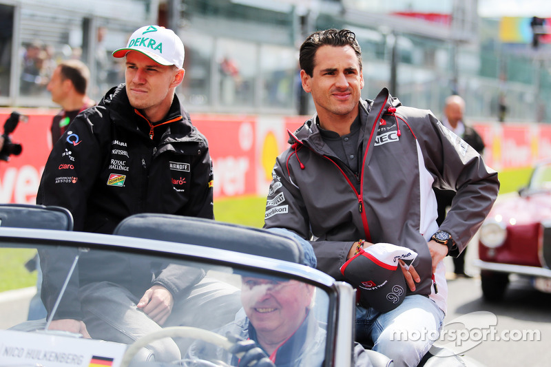 (L to R): Nico Hulkenberg, Sahara Force India F1 and Adrian Sutil, Sauber on the drivers parade