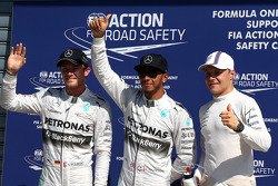 Polesitter Lewis Hamilton, second place Nico Rosberg, third place Valtteri Bottas