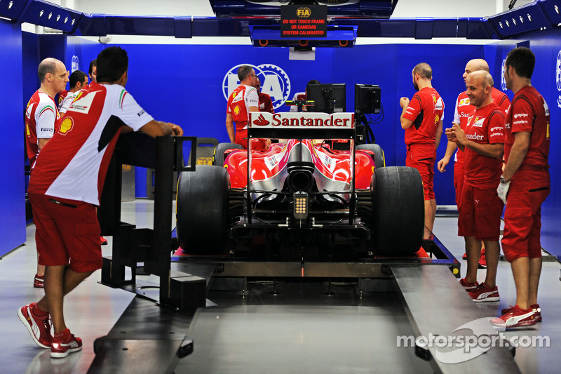 Ferrari F14-T of Fernando Alonso, Ferrari in scrutineering
