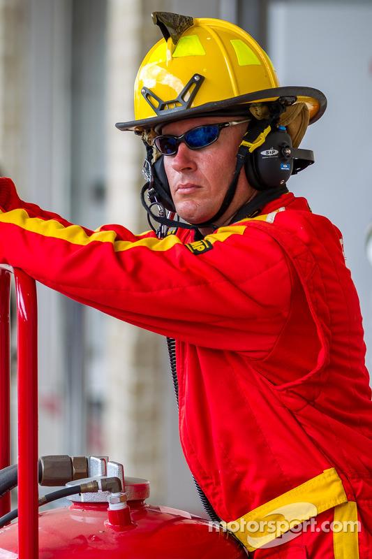 Fireman on watch in pit lane