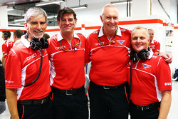 Damon Hill, Sky Sports Presenter with Graeme Lowdon, Marussia F1 Team Chief Executive Officer; John Booth, Marussia F1 Team Team Principal; and Johnny Herbert, Sky Sports F1 Presenter