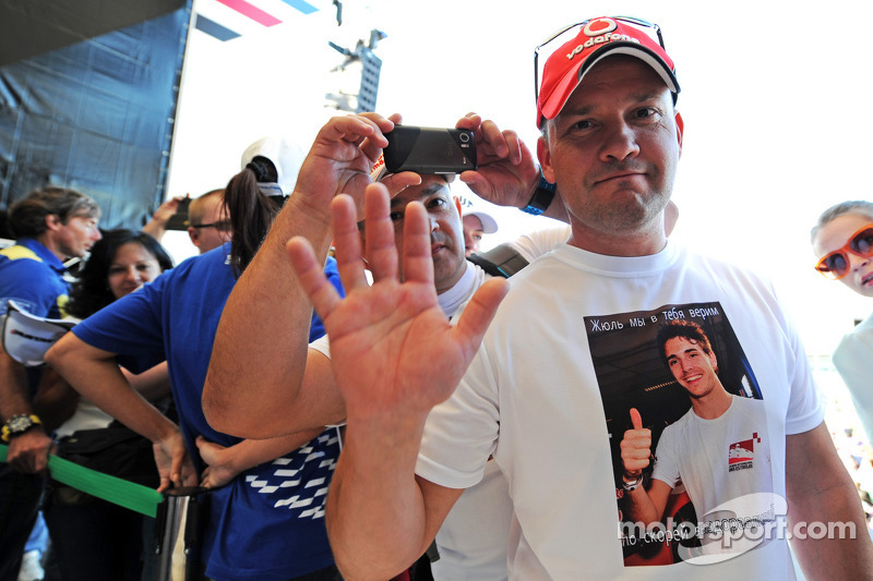 A fan wearing a Jules Bianchi, Marussia F1 Team T-Shirt at the Fanzone