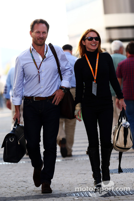 (L to R): Christian Horner, Red Bull Racing Team Principal with Geri Halliwell, Singer