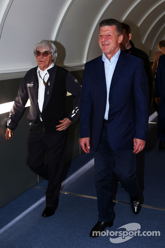 (L to R): Bernie Ecclestone, with Dmitry Kozak, Russian Deputy Prime Minister