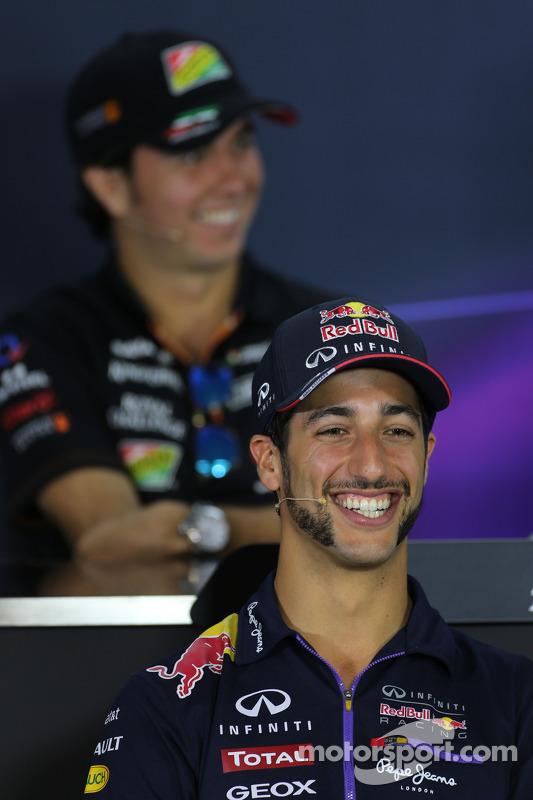 Daniel Ricciardo, Red Bull Racing and Sergio Perez, Sahara Force India at the FIA Press Conference