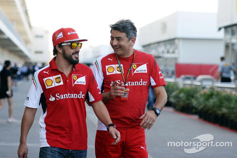 (L to R): Fernando Alonso, Ferrari with Marco Mattiacci, Ferrari Team Principal