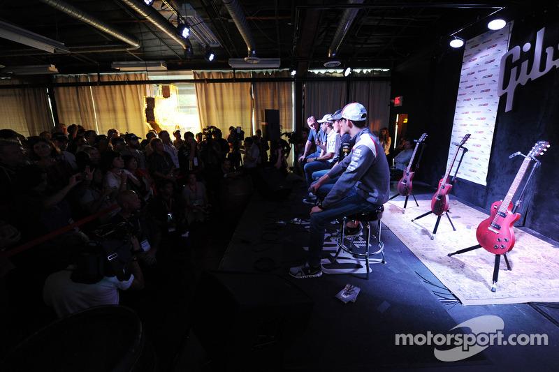 (L to R): Felipe Massa, Williams with Sergio Perez, Sahara Force India F1 and Esteban Gutierrez, Sauber at the Fans' Forum