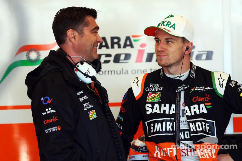 (L to R): Bradley Joyce, Sahara Force India F1 Race Engineer with Nico Hulkenberg, Sahara Force Indi