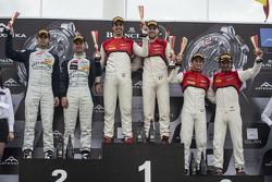 Qualifying race podium: winners Cesar Ramos, Laurens Vanthoor, second place Andy Soucek, Jonny Adam, third place Stephane Richelmi, Stéphane Ortelli