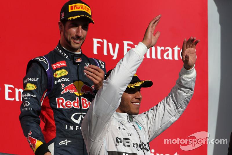 Lewis Hamilton, Mercedes AMG F1 Team y Daniel Ricciardo, Red Bull Racing