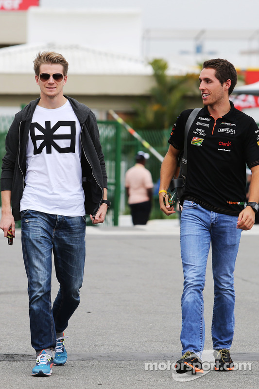 (L to R): Nico Hulkenberg, Sahara Force India F1 with Daniel Juncadella, Sahara Force India F1 Team