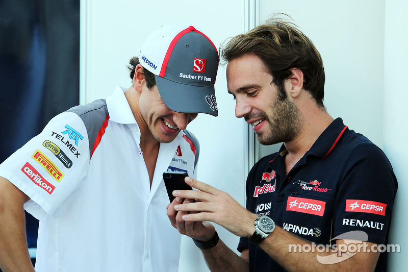 L To R Adrian Sutil Sauber With Jean Eric Vergne
