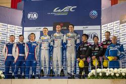 LMP2 podium: Matthew Howson, Richard Bradley, Alexandre Imperatori; Kirill Ladygin, Viktor Shaitar, Anton Ladygin; Mark Patterson, Keiko Ihara, David Cheng
