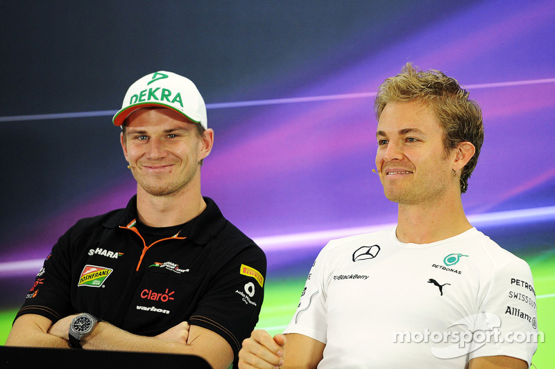 (L to R): Nico Hulkenberg, Sahara Force India F1 and Nico Rosberg, Mercedes AMG F1 in the FIA Press Conference