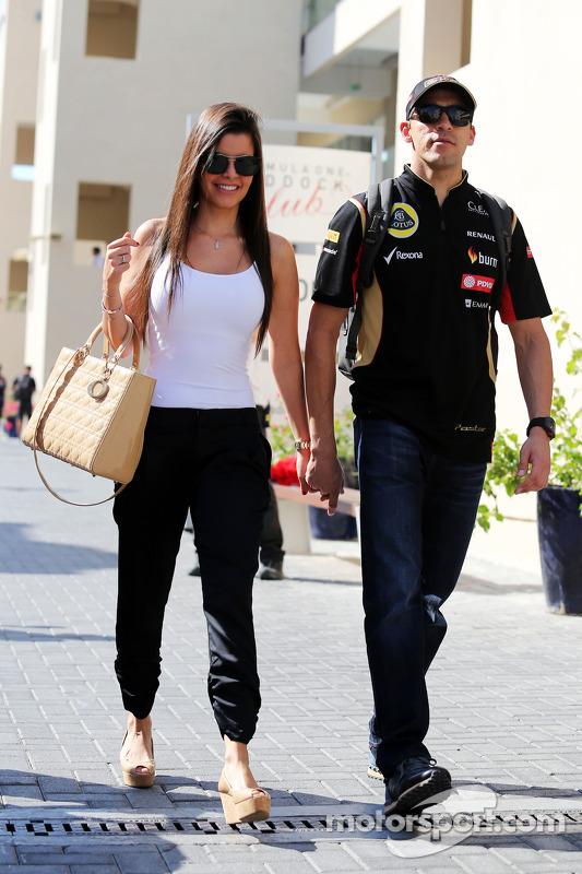 Pastor Maldonado, Lotus F1 Team, com sua esposa Gabriele