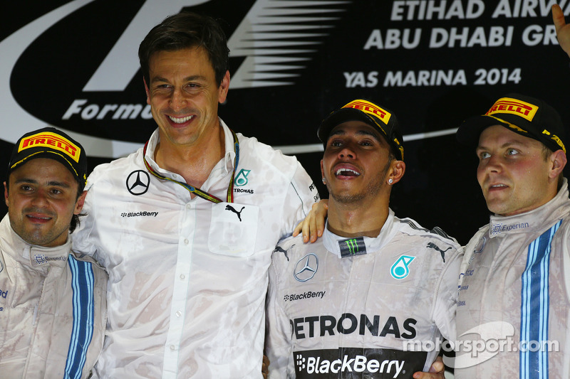 First place and World Champion Lewis Hamilton, Mercedes AMG F1 W05, Second place Felipe Massa, Williams FW36 and Third place Valtteri Bottas, Williams FW36