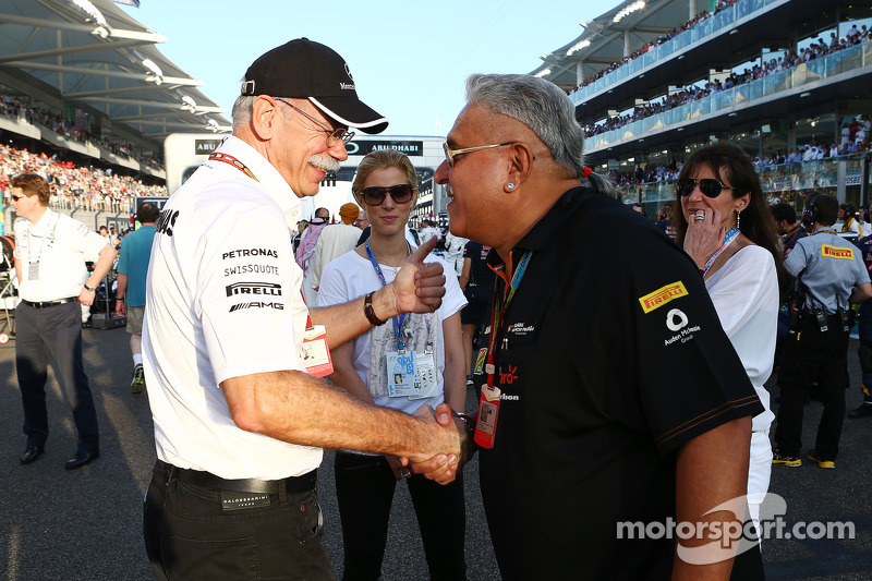 (L to R): Dr. Dieter Zetsche, Daimler AG CEO with Dr. Vijay Mallya, Sahara Force India F1 Team Owner on the grid