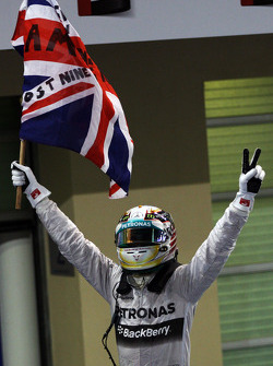 Race winner and World Champion Lewis Hamilton, Mercedes AMG F1 celebrates in parc ferme