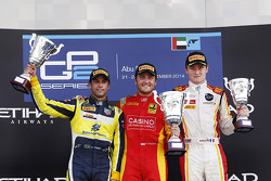 Race winner Stefano Coletti, Racing Engineering, second place Felipe Nasr, Carlin, third place Arthur Pic, Campos Racing